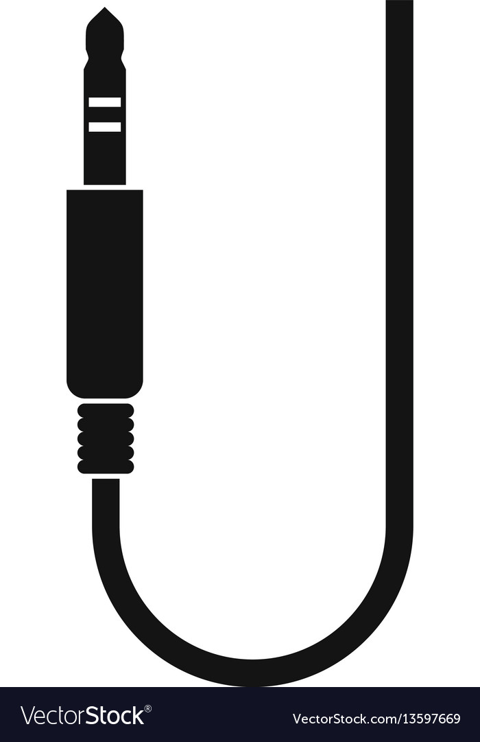 Microphone wire icon simple style Royalty Free Vector Image