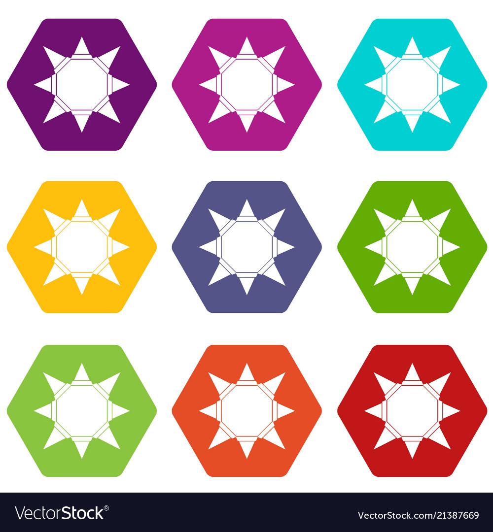Origami sun icons set 9