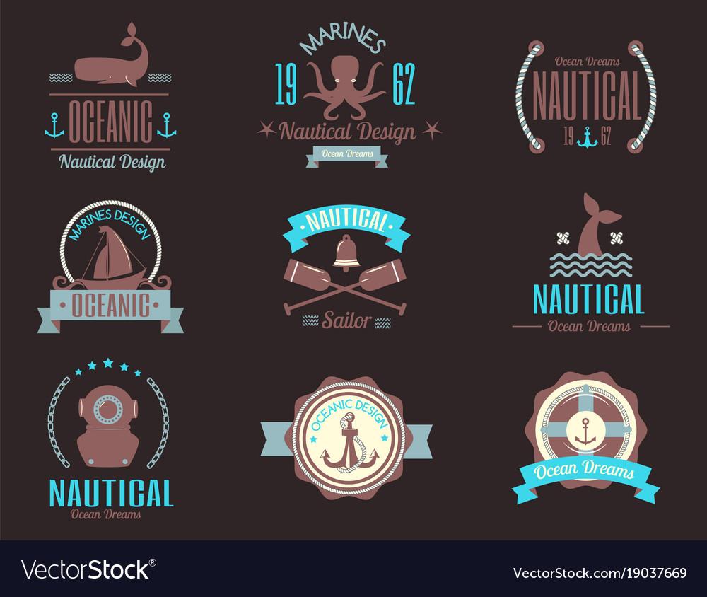 sea marine nautical logo icons sailing royalty free vector