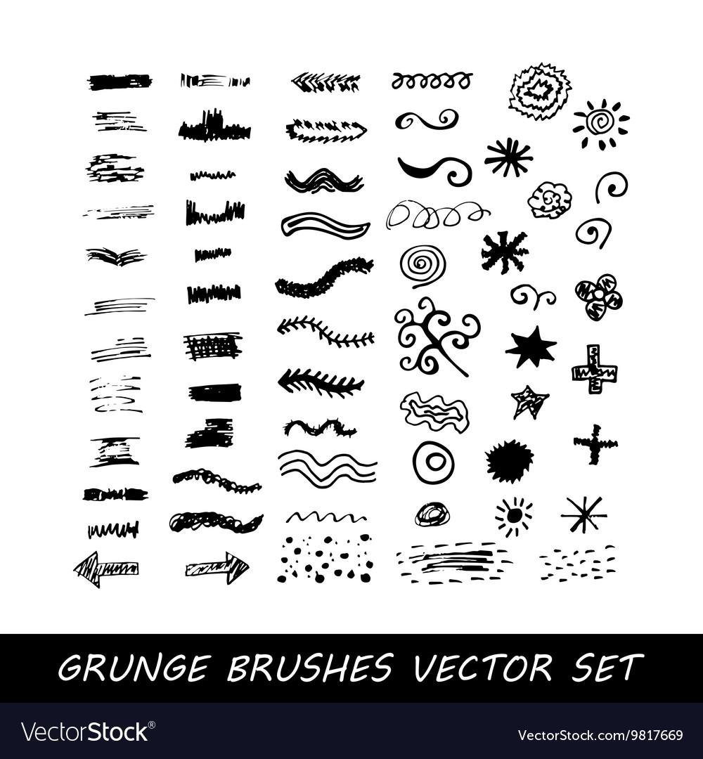Set of grunge brush strokes vector image