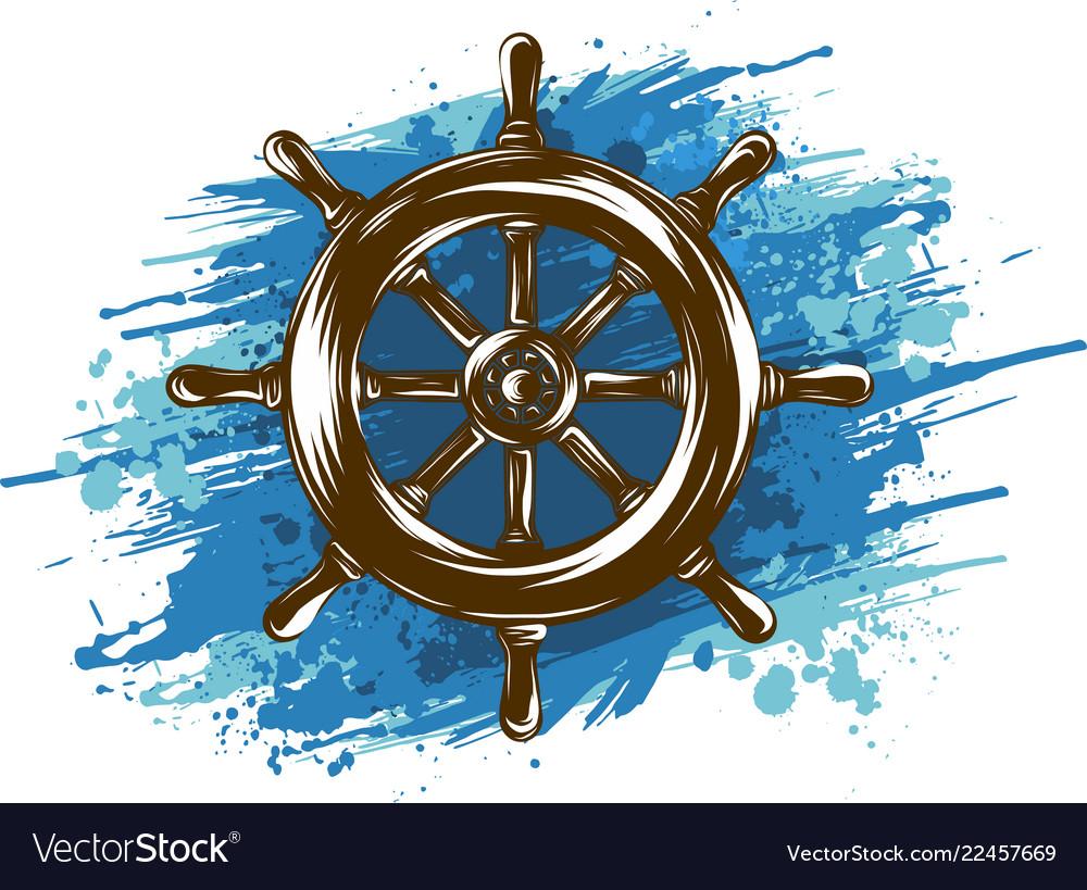 Ship wheel on white background nautical icon