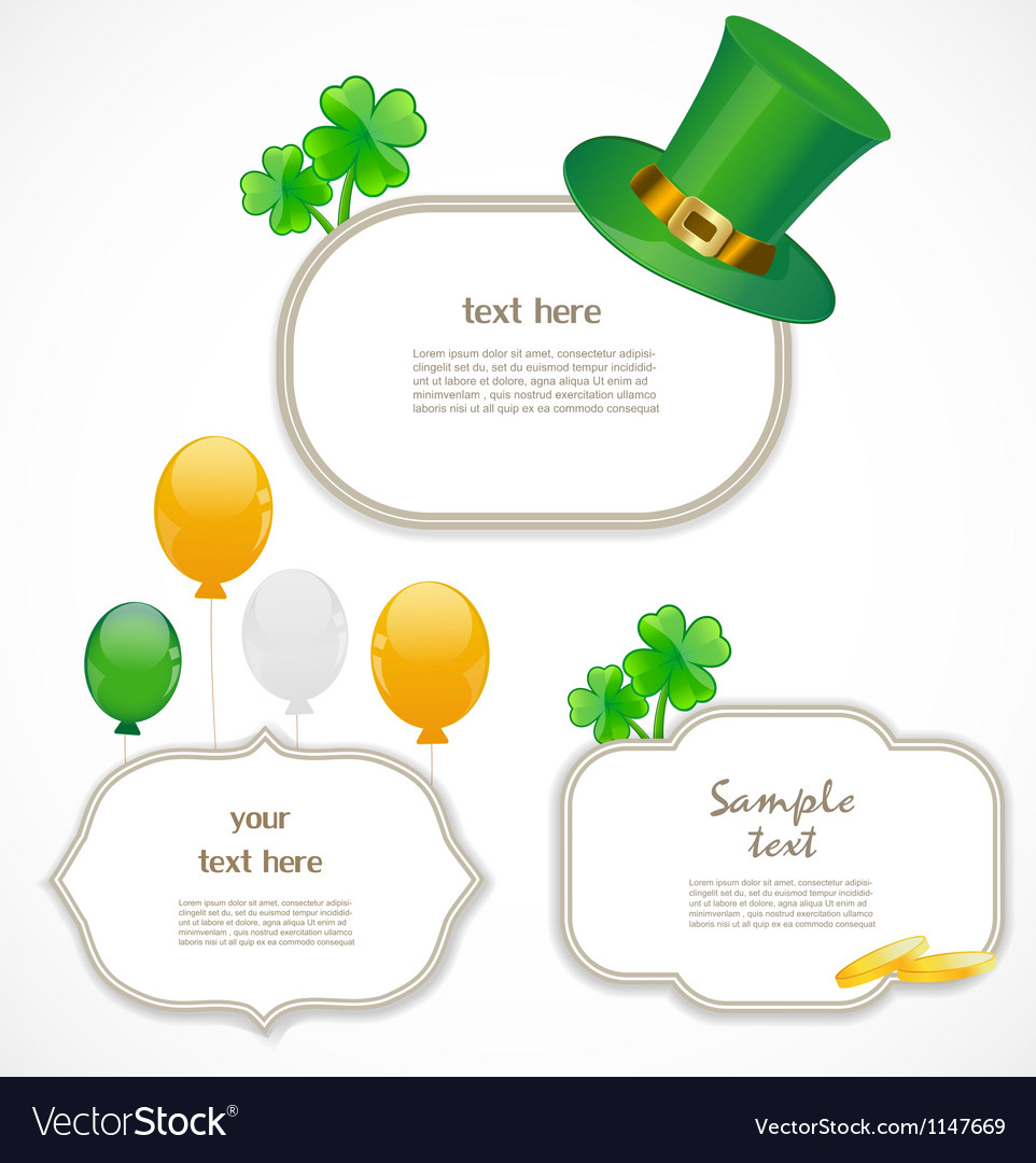 St Patrick Day Frames Royalty Free Vector Image