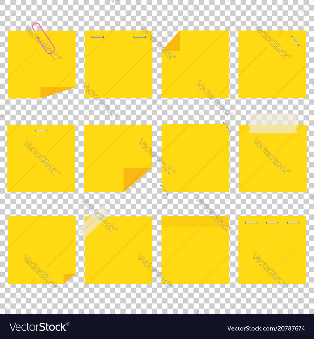 A set of yellow office sticky sheets a simple