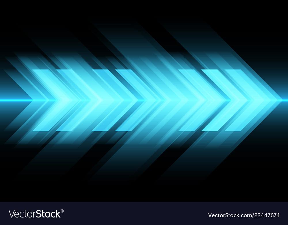 Abstract blue light arrow speed on black