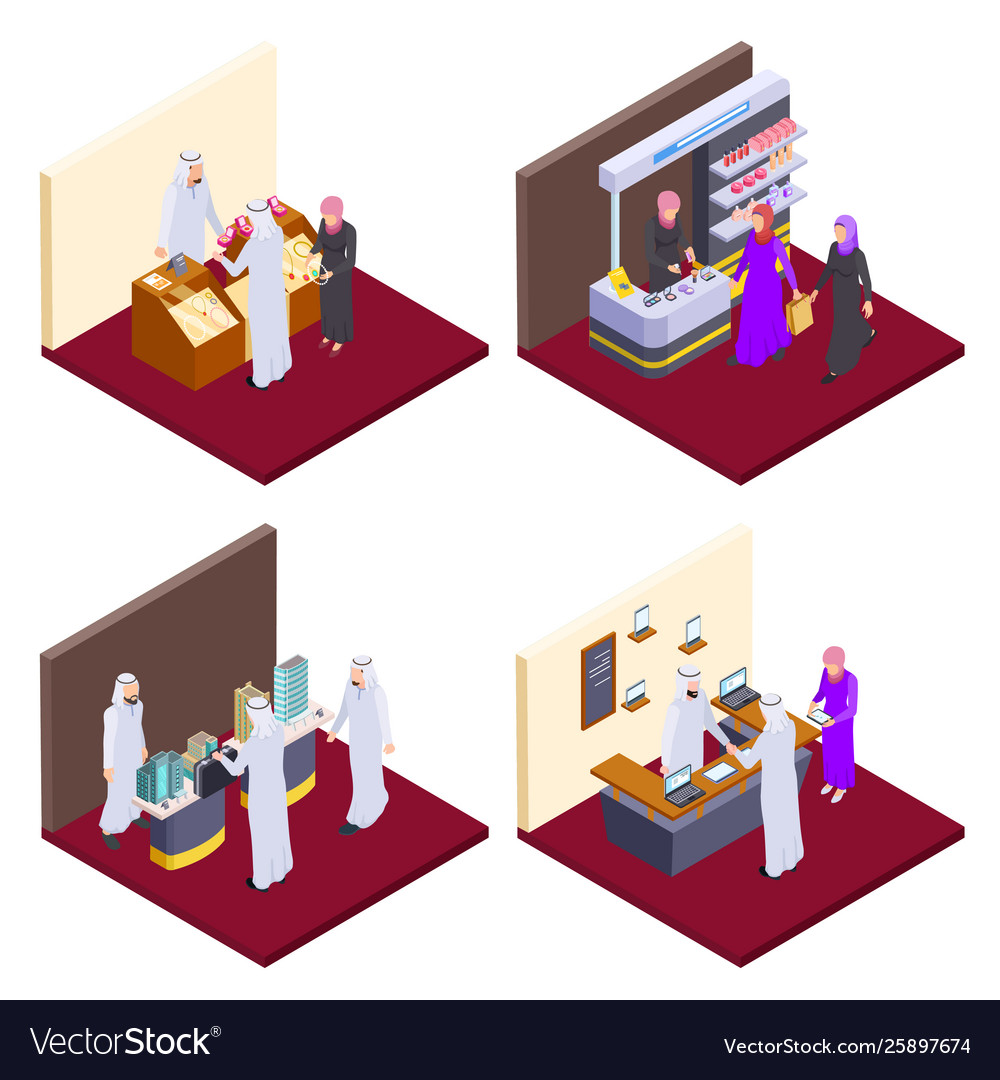 Arab 3d people isometric arabs shopping