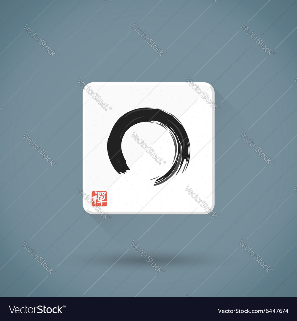 Flat enso hand drawn sign icon zen buddhism red