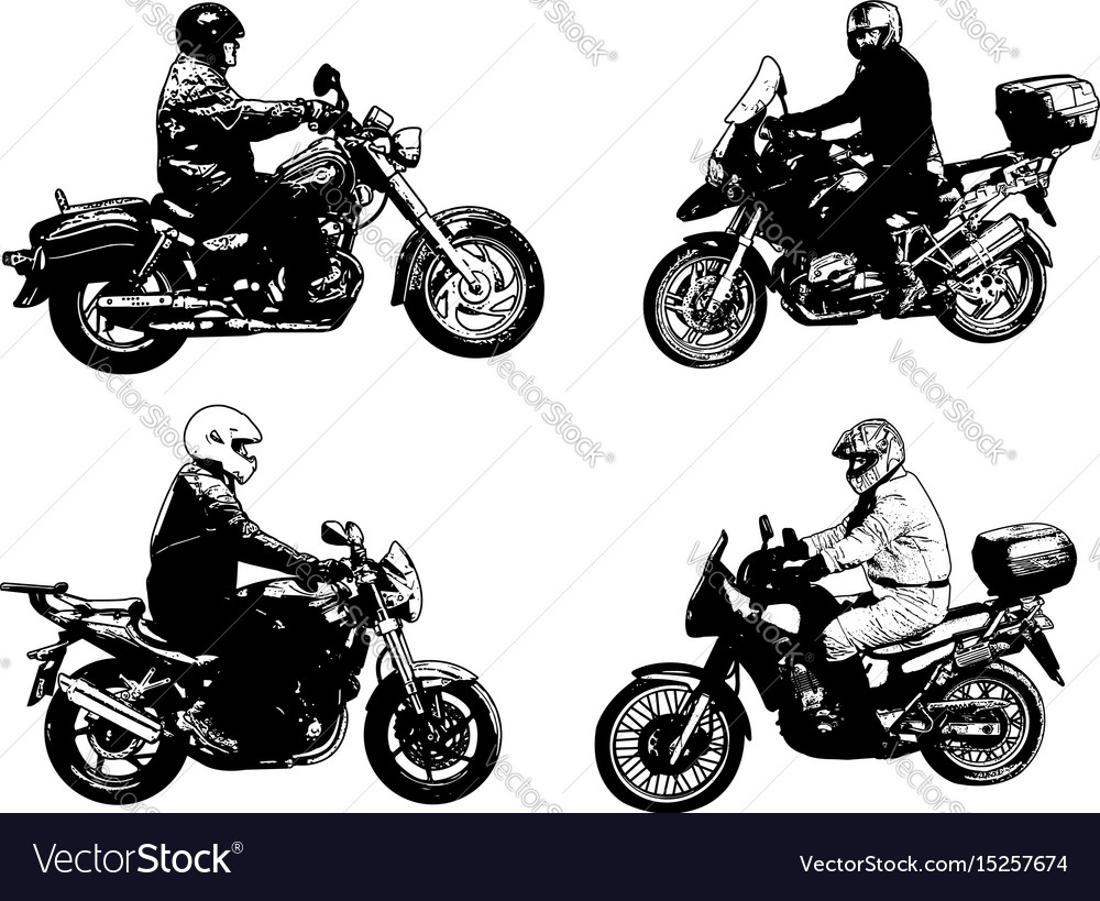 Four sketch motorcyclists