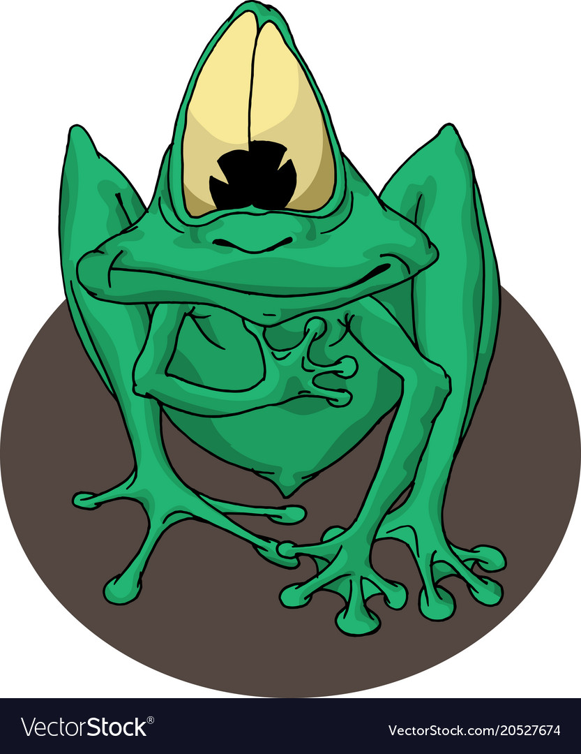 Green frog with eyes