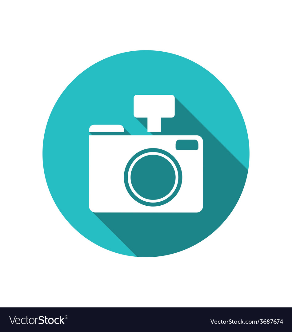 Icon photo camera white cuted on blue round