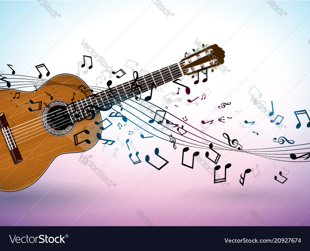 Music banner design with acoustic guitar and