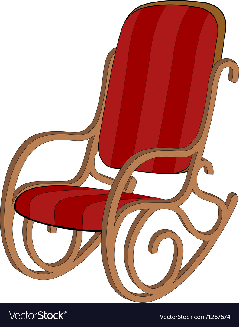 Red Wooden Rocking Chair Vector Image