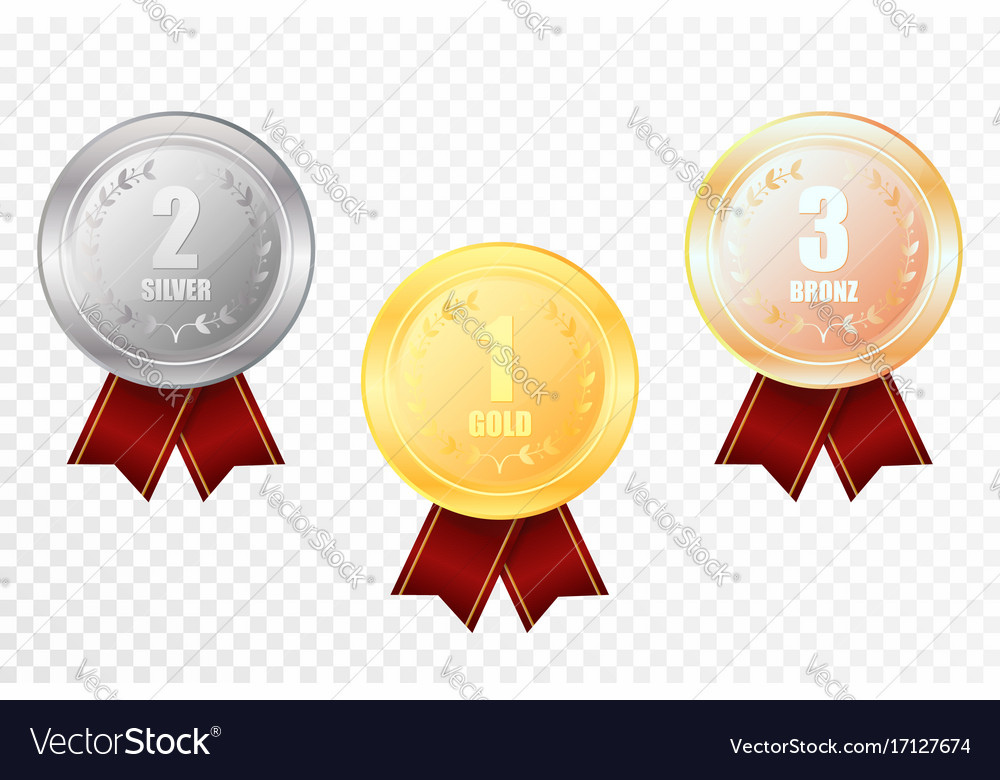 Set of gold silver and bronze award medals