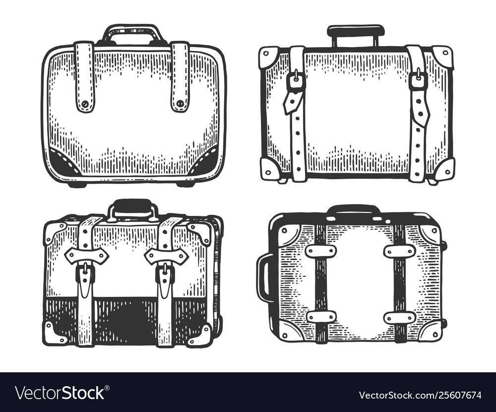 Suitcase travel bag sketch engraving
