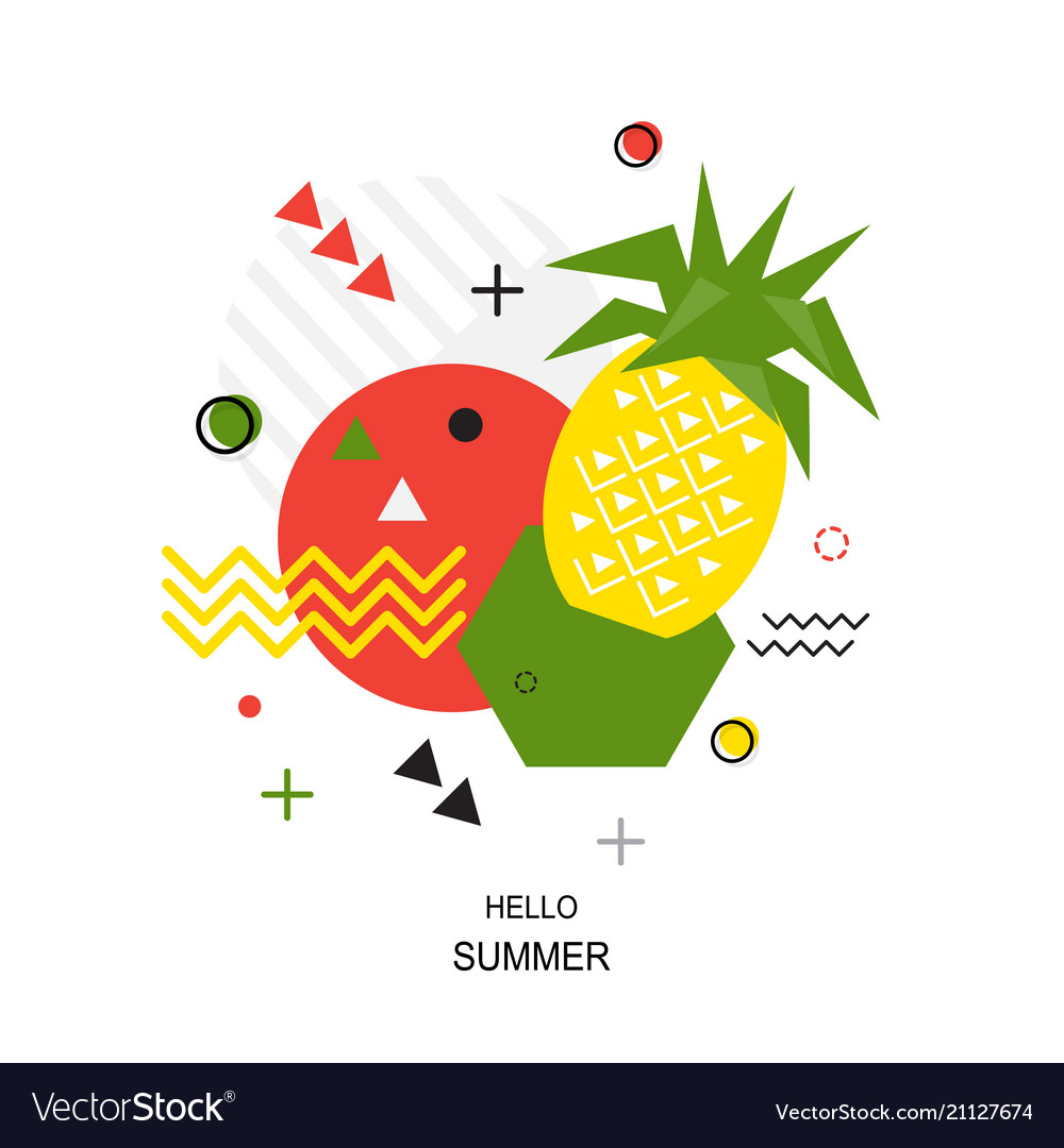 Trendy style geometric pattern with pineapple