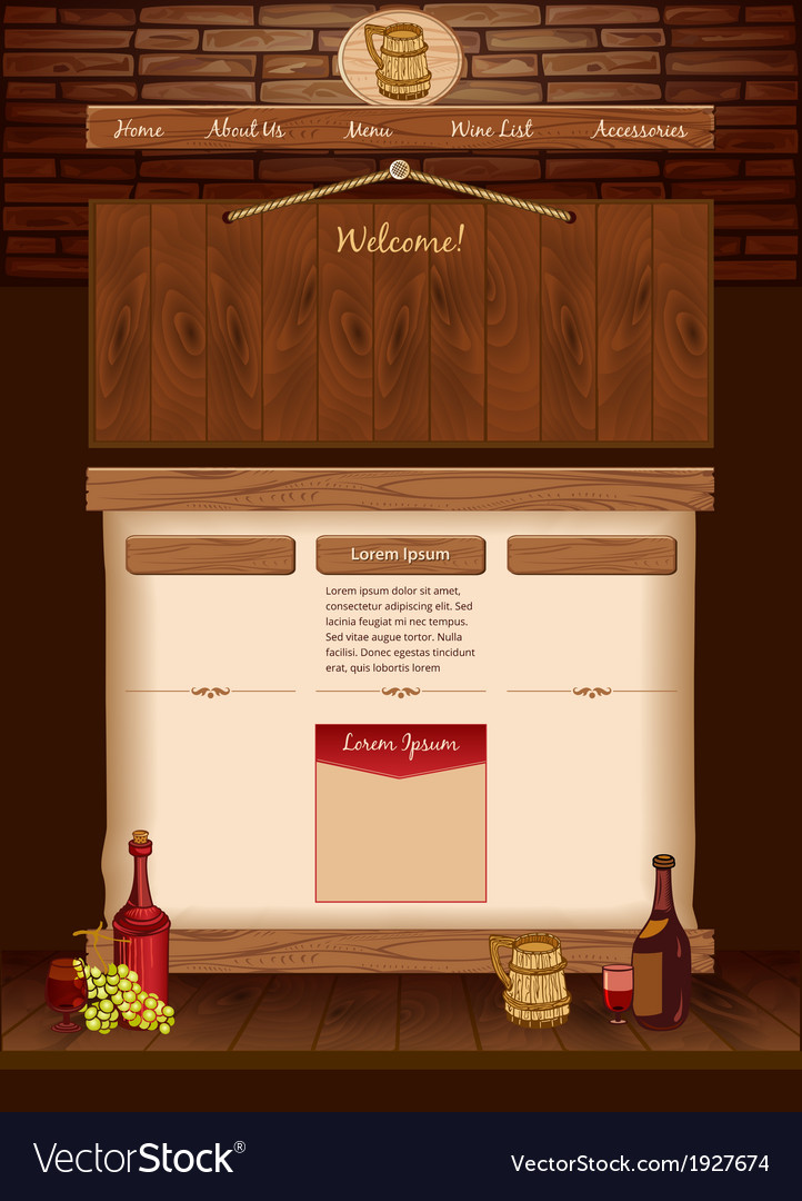 web template for vintage cafe royalty free vector image