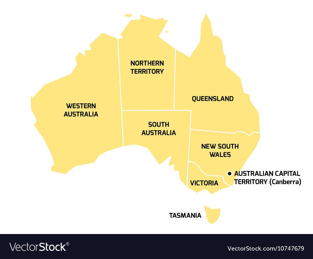 Australia Map States And Territories.Australia Map With States And Territories Vector Image