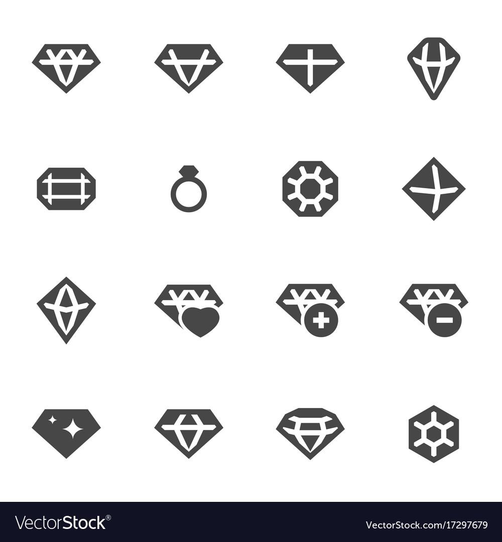 Black diamond icons set