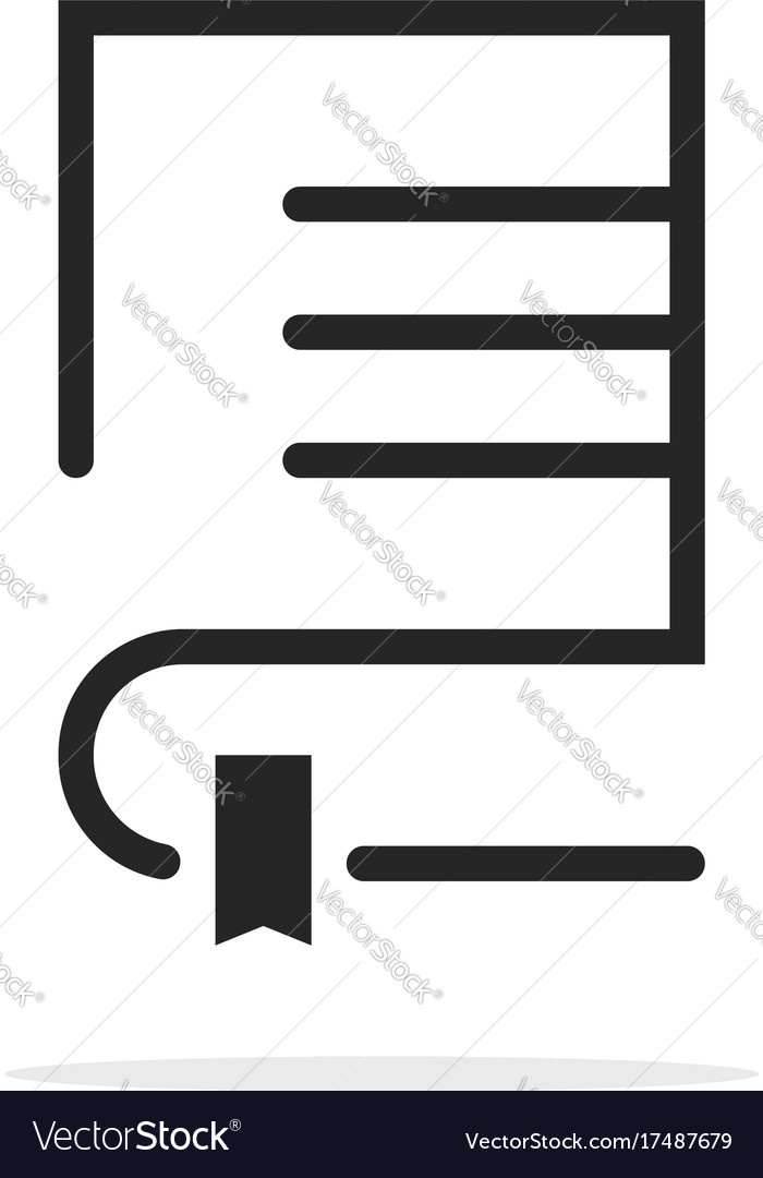 Black linear book logo with bookmark