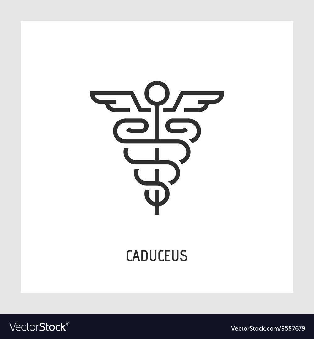 Caduceus icon Thin line sign
