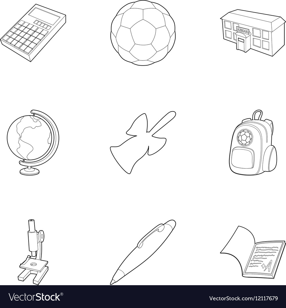 Children education icons set outline style