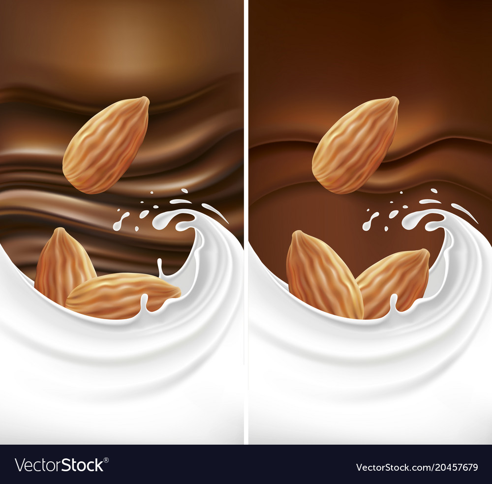 Chocolate background with milk splash and almond vector image