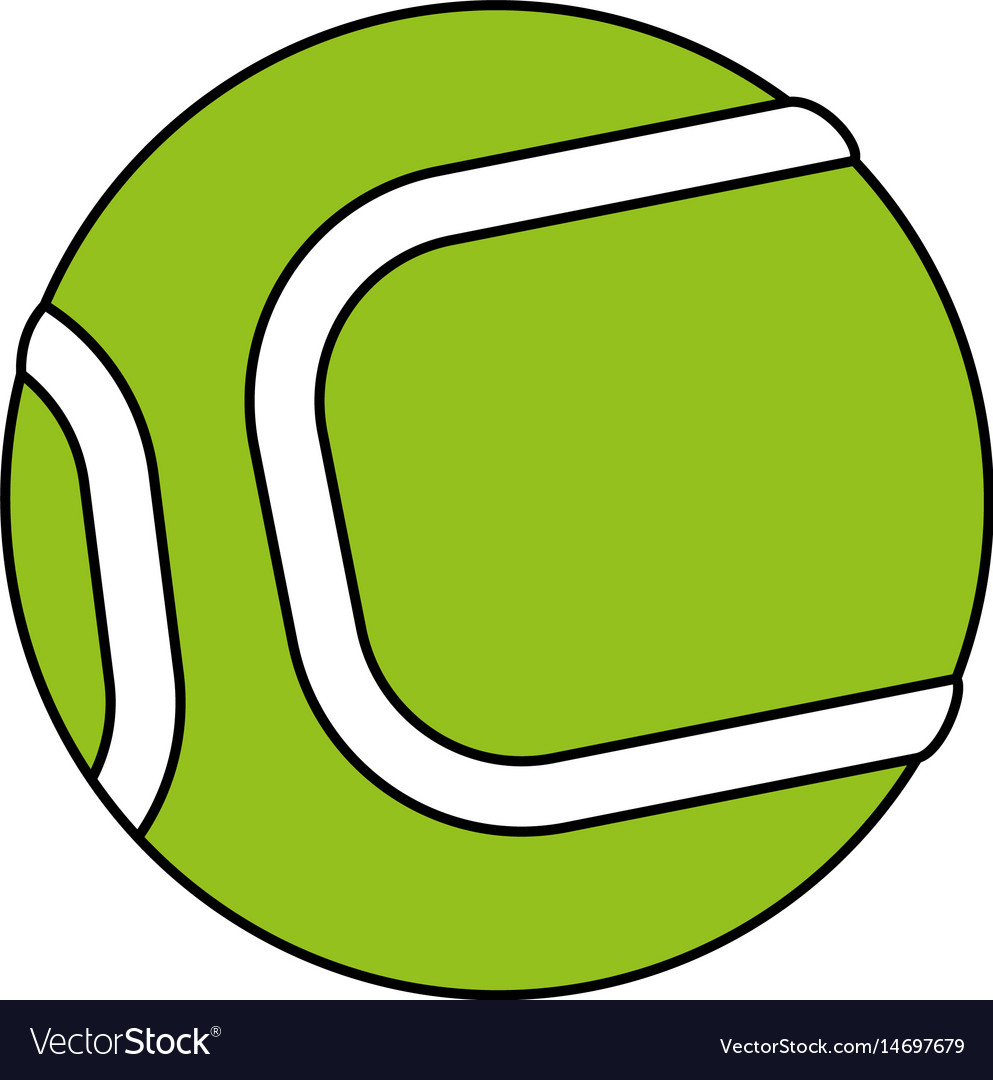 Color silhouette cartoon green tennis ball on