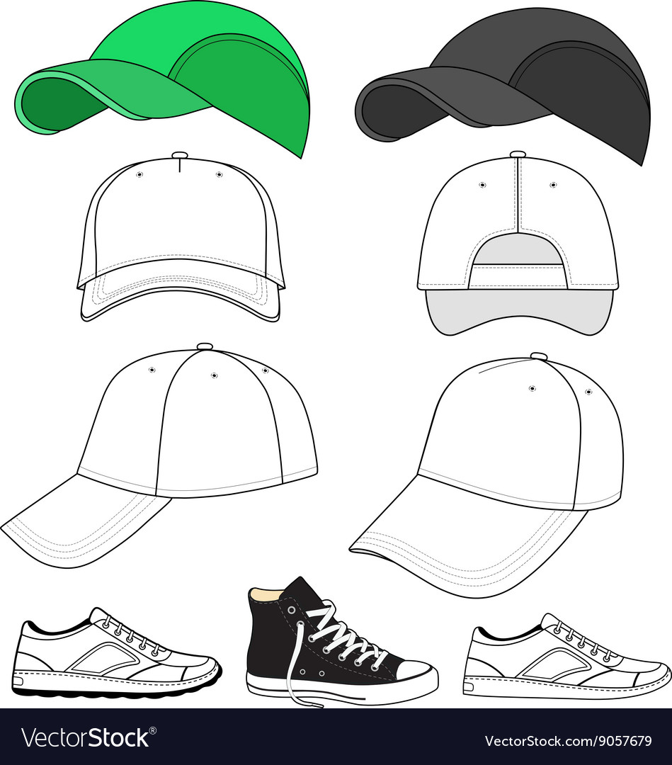 Colored outlined sneakers baseball cap set
