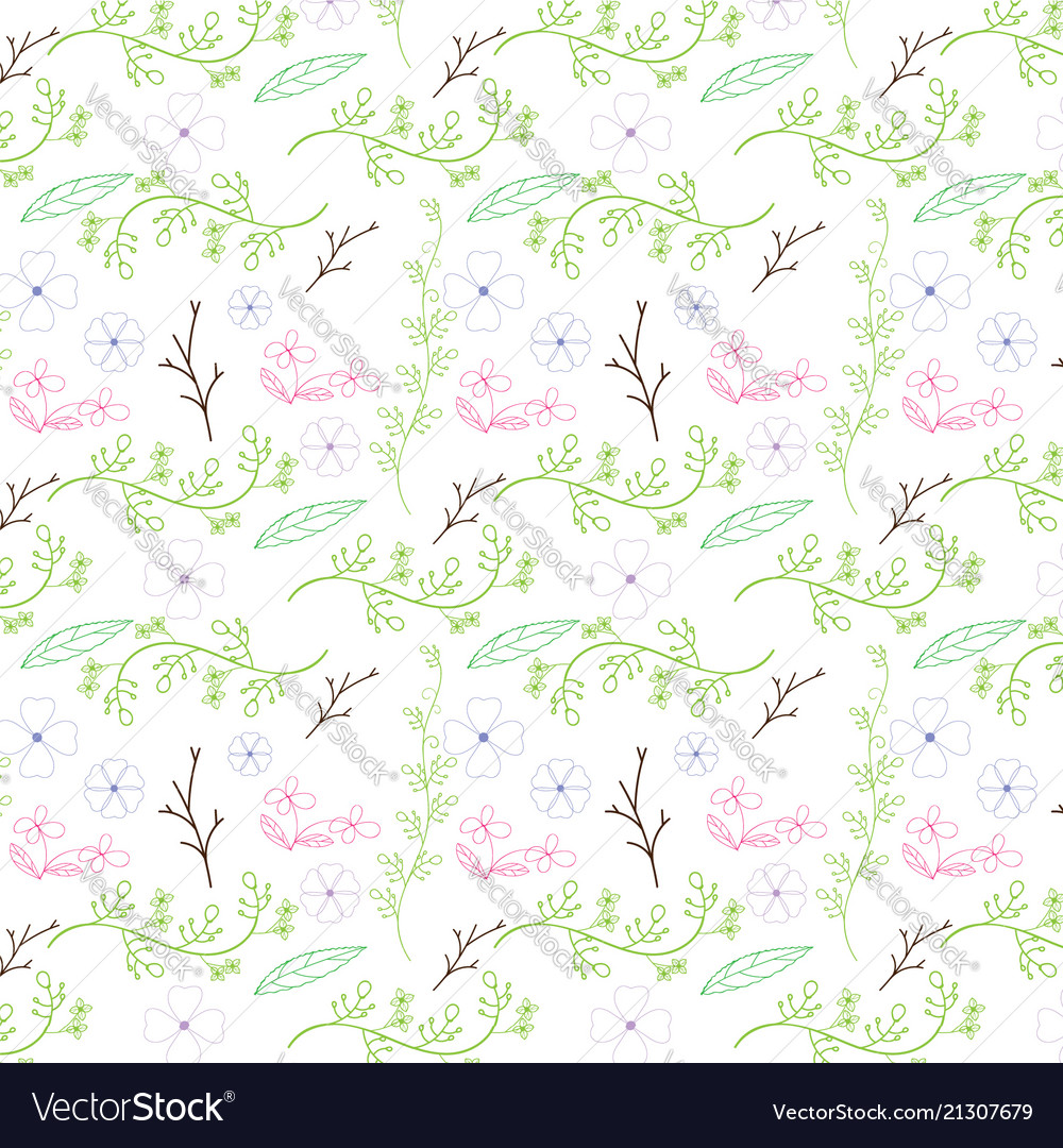 Colorful flower and vine seamless pattern design