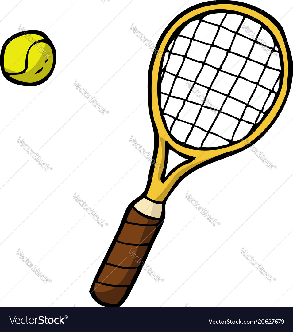 Doodle tennis racket and ball