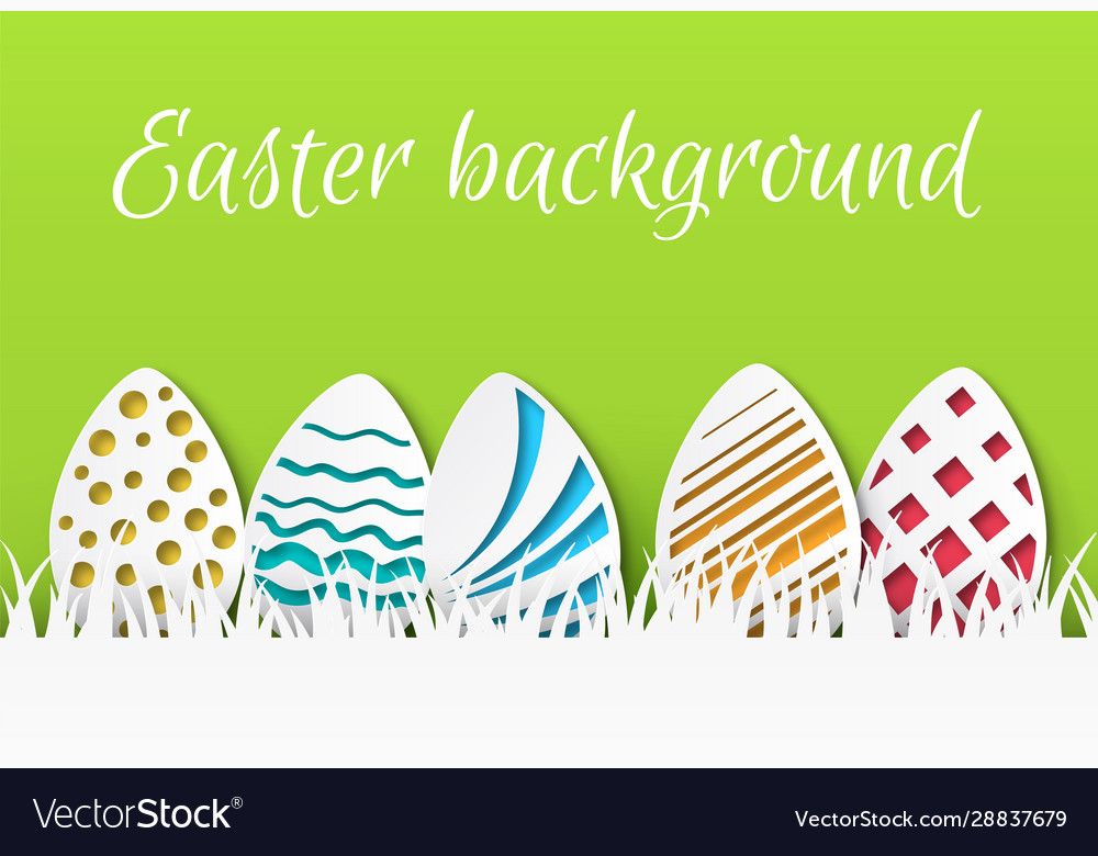 Easter paper cut colorful easter eggs