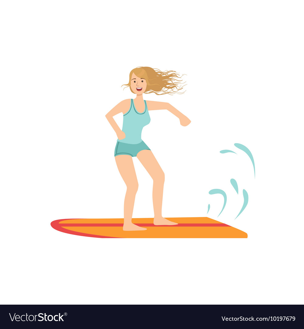 Girl On The Surf Board vector image