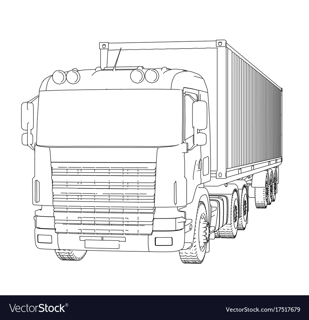 Logistic by container truck vector image on VectorStock