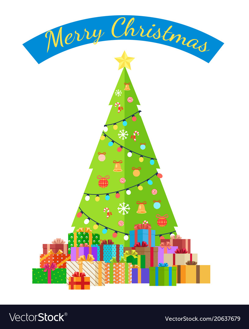 Merry christmas poster with decorated tree by