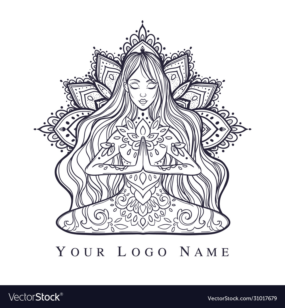 Ornamental Woman In A Yoga Pose Royalty Free Vector Image