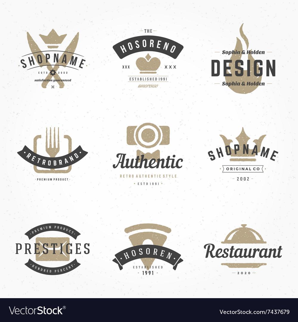 Retro Hand Drawn Logos Templates Set Hand