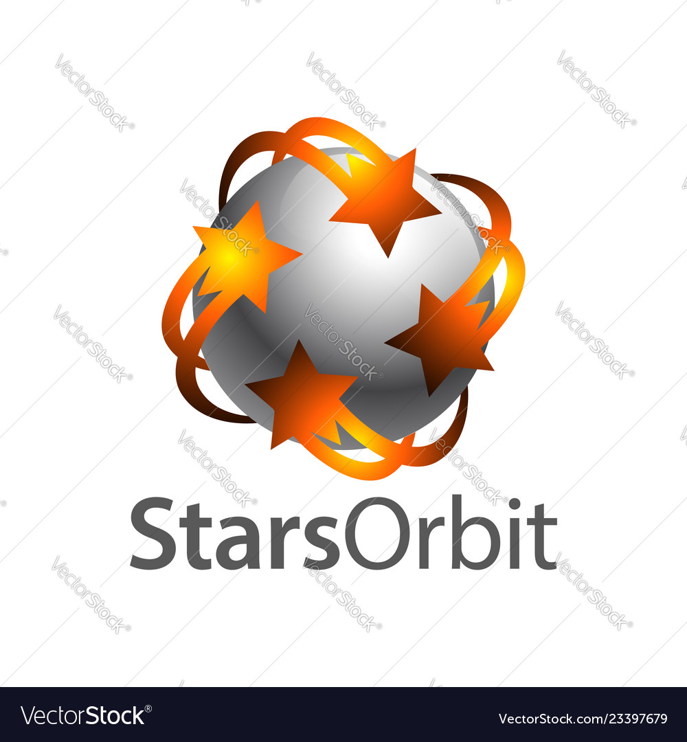 Stars orbit on grey sphere inside logo concept