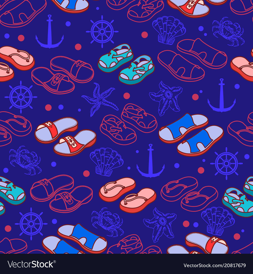 Summer shoes on blue beach seamless vector image