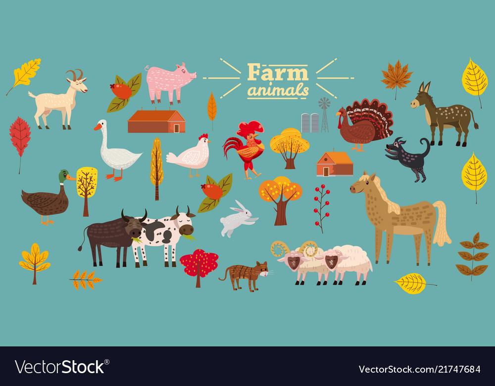 Big set of farm animals pig rabbit cow bull