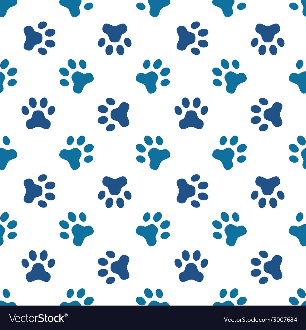 Blue pet or animal footprint seamless pattern vector image