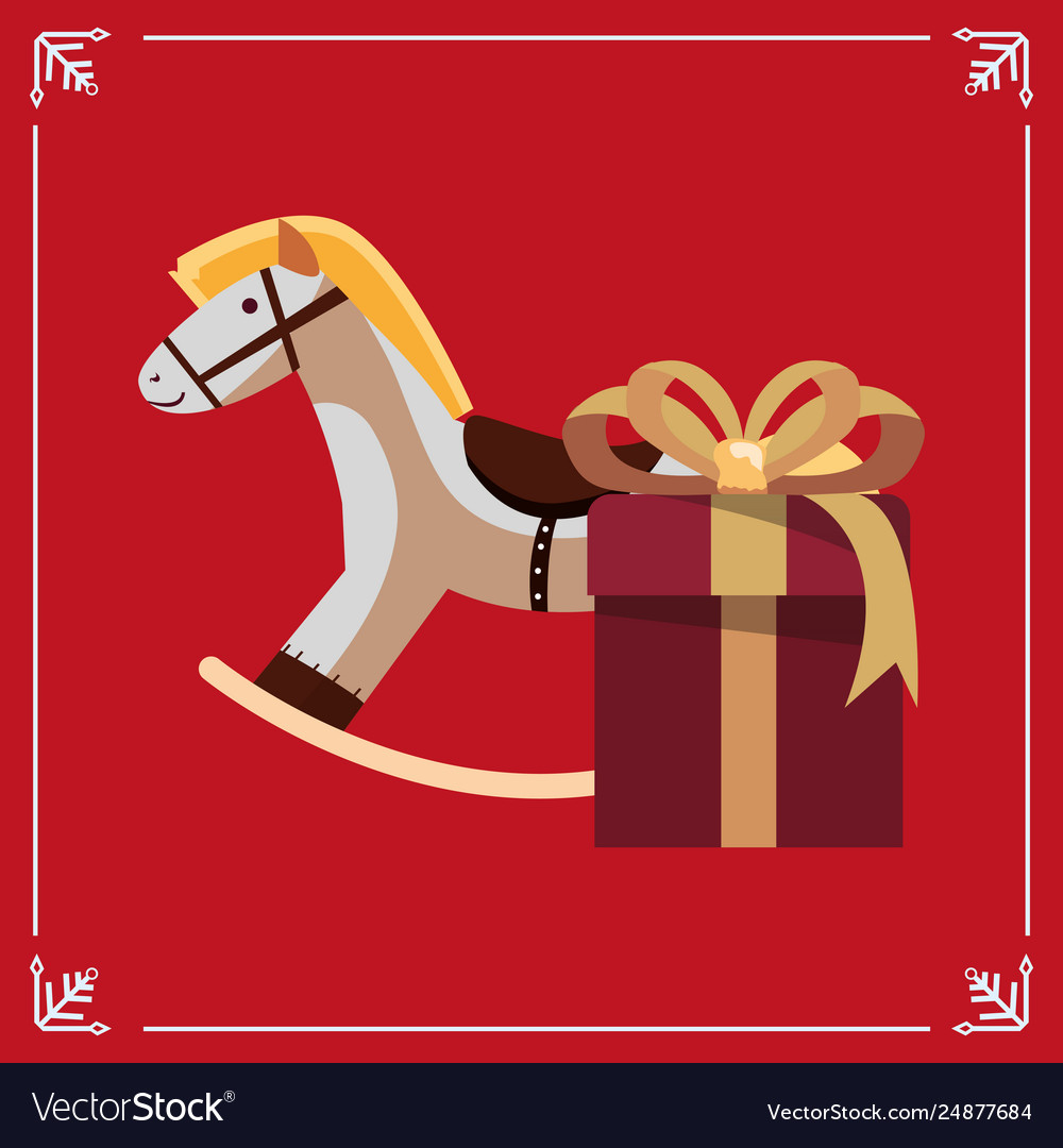 Christmas Rocking Horse Gift Box Royalty Free Vector Image