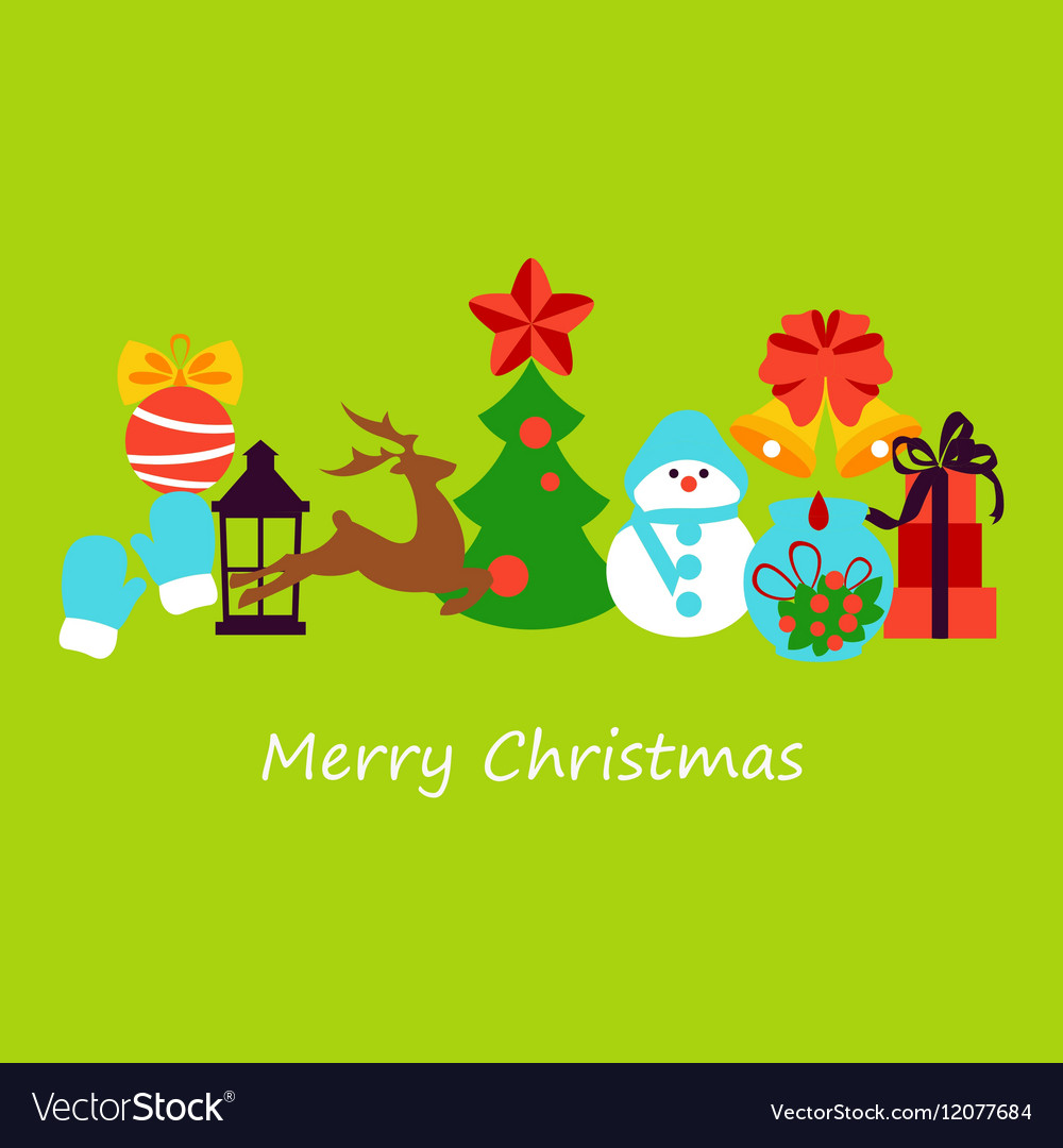 Collection of colorful christmas elements and