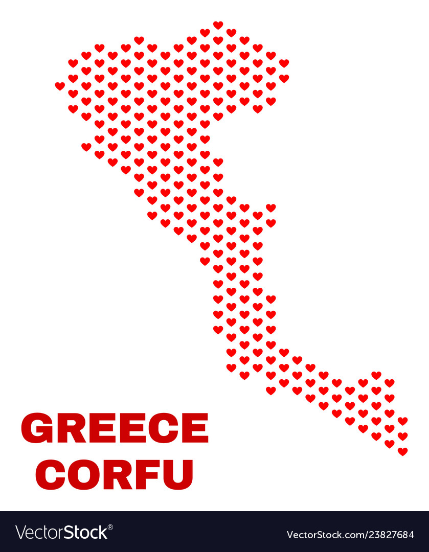 Corfu island map - mosaic of lovely hearts