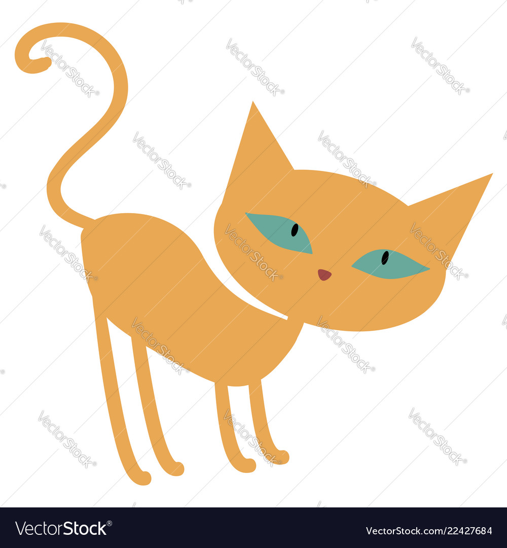 Cute ginger orange cartoon cat with green eyes