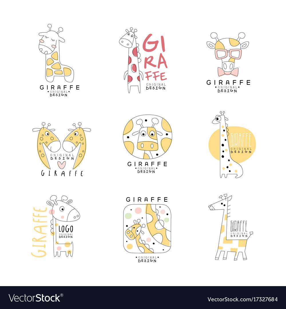 Cute giraffe logo template original design set vector image