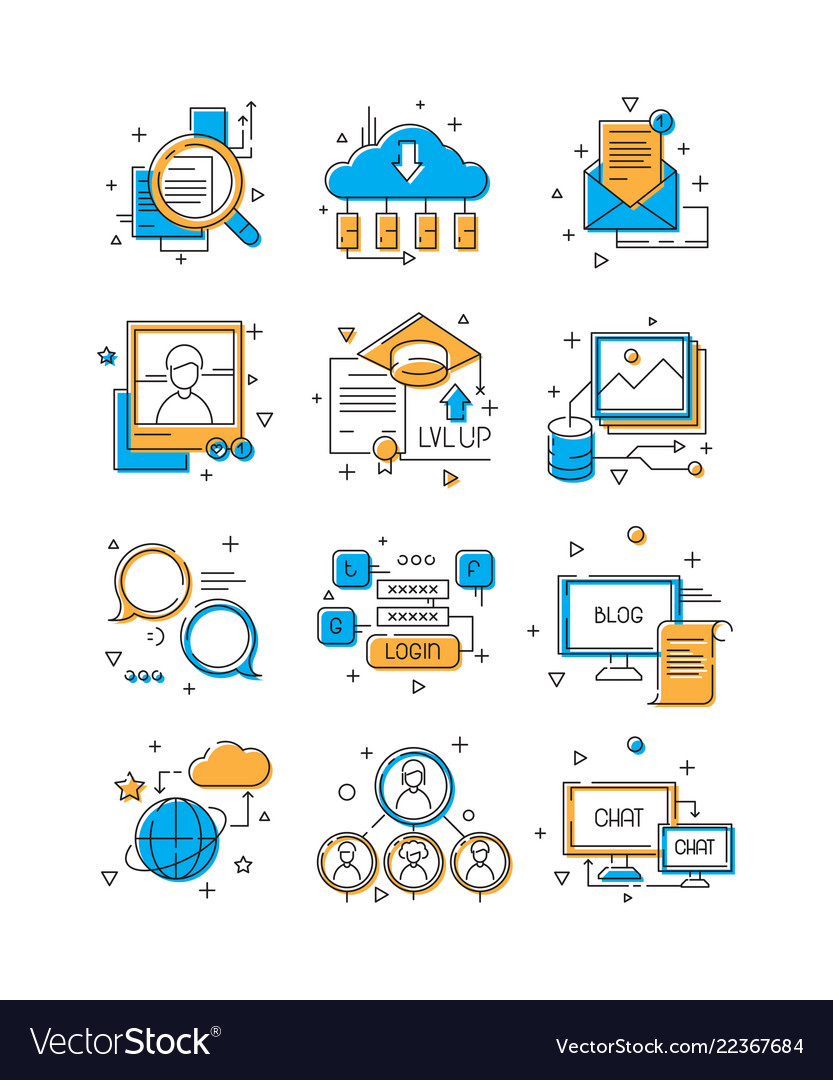 Digital media icons social marketing community
