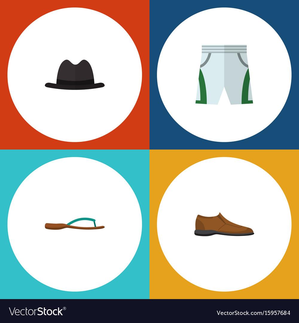 Flat icon dress set of beach sandal panama male