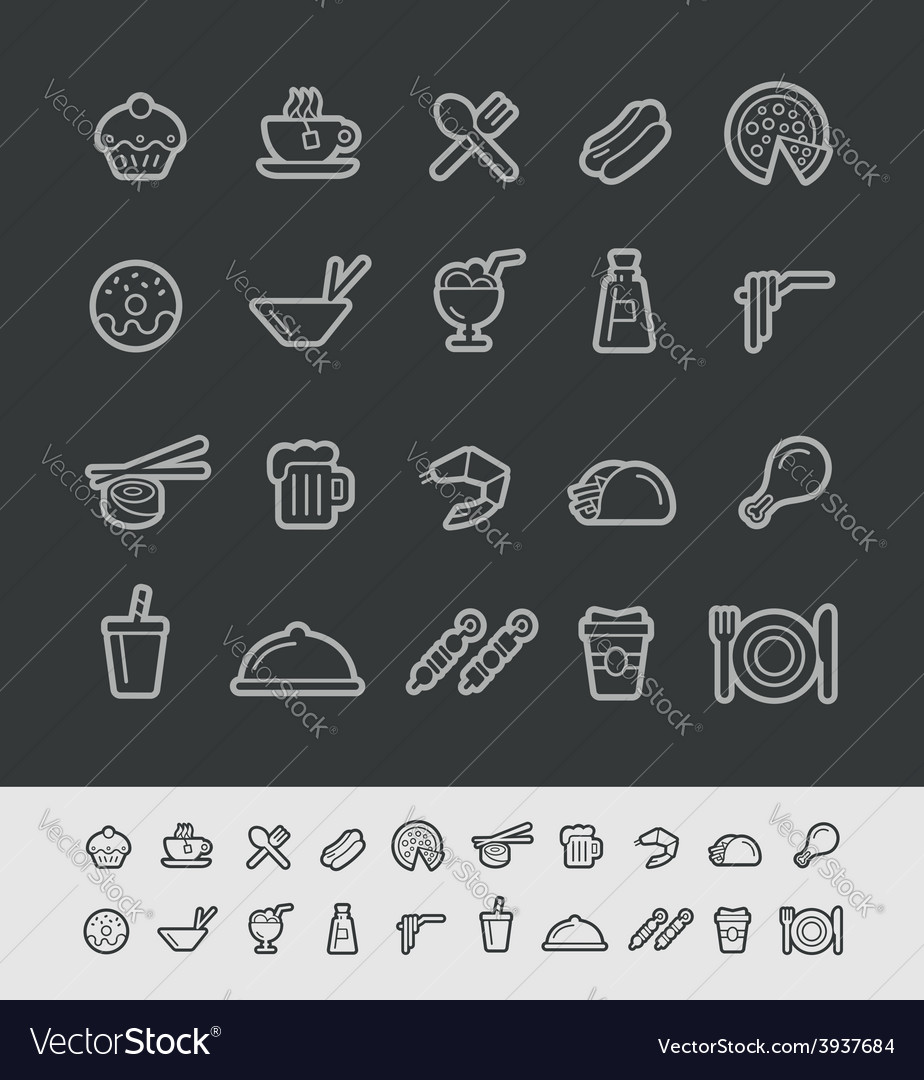 Food and Drink Icons Black Background vector image