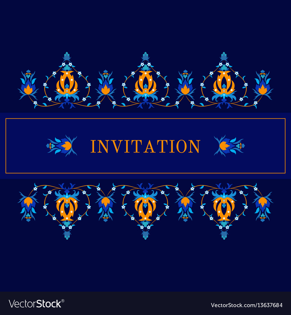 Greeting card invitation with oiental pattern