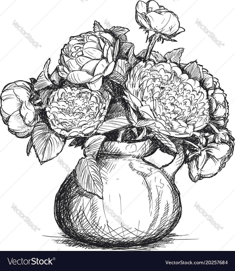 Hand drawing of rose and peony flower bouquet in vector image izmirmasajfo