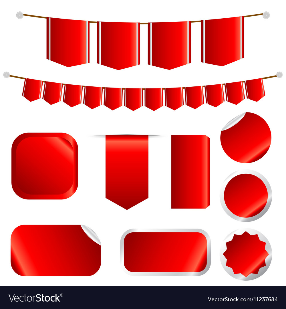 Red Ribbons Set isolated On Wtite Background vector image